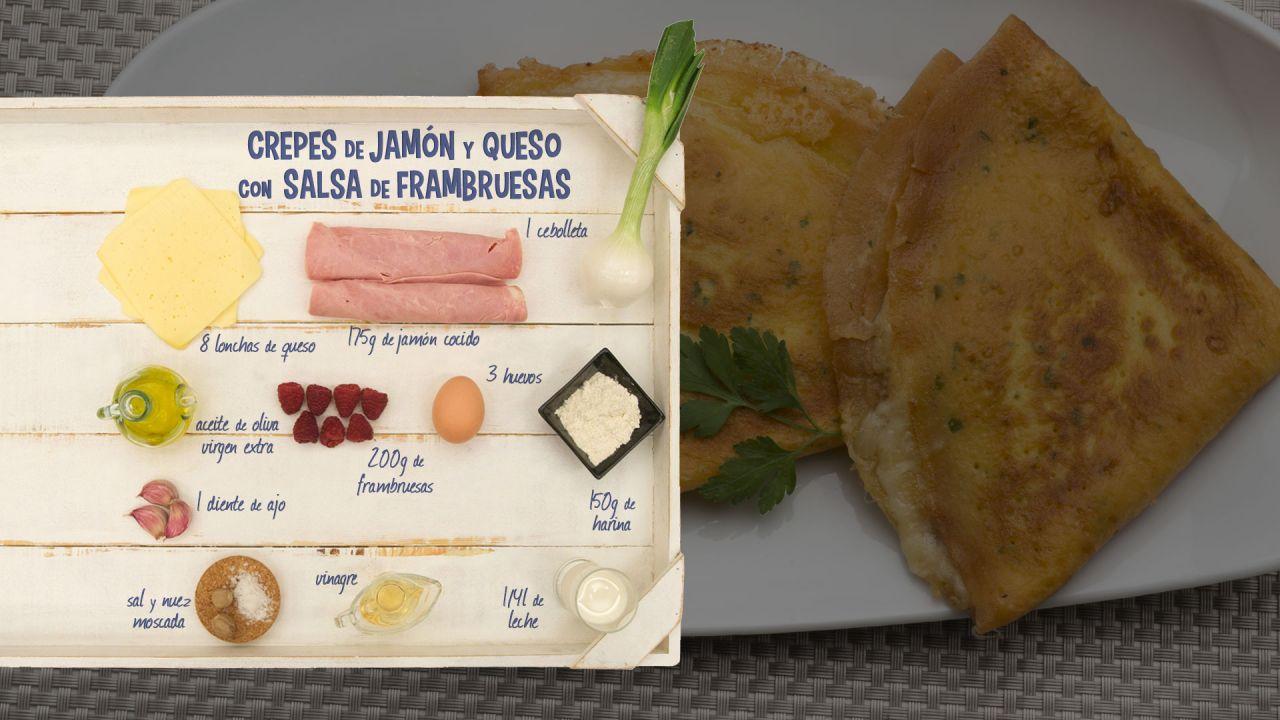 Crepes de jam n y queso con salsa de frambuesas - Ingredientes para crepes ...