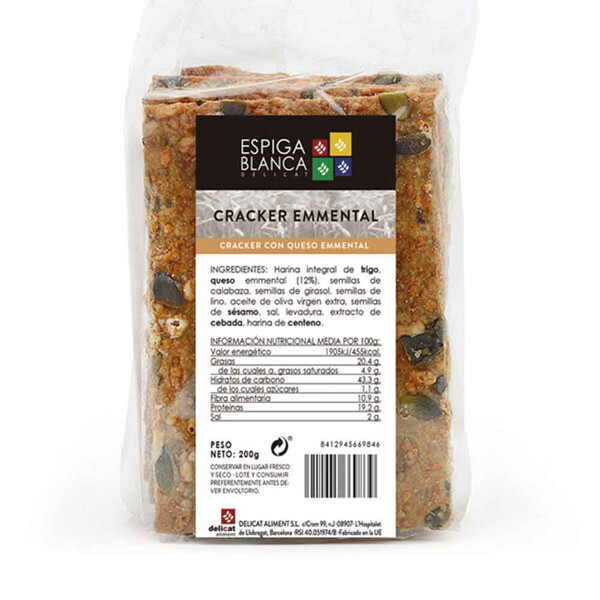 Cracker Emmental y Semillas de Calabaza 200g.